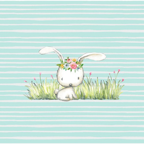 Woodland Bunny Pillow Front - Fat Quarter size