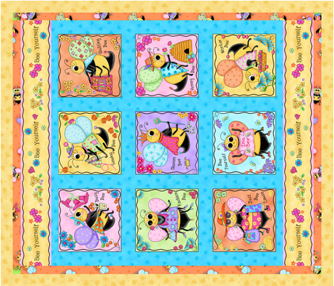 Whimsy Honey Bees Wholecloth Quilt  fabric by phyllisdobbs on Spoonflower - custom fabric
