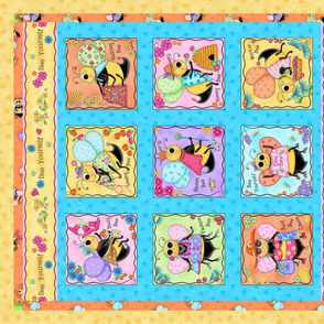 Whimsy Honey Bees Wholecloth Quilt