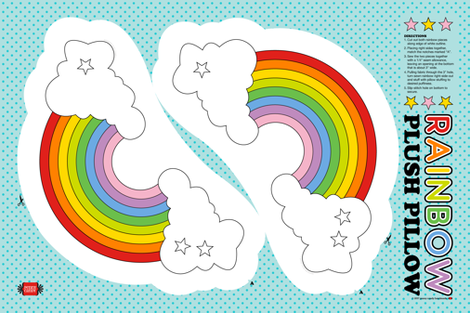 Rainbow Plush Pillow Cut-and-Sew Pattern || plushie nursery baby kids children pride clouds stars dorm fabric by pennycandy on Spoonflower - custom fabric