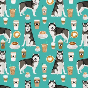 Alaskan Malamute junk food donuts pizza fries dog portrait turquoise