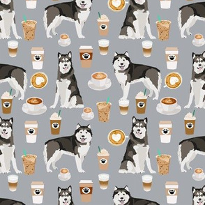 Alaskan Malamute junk food donuts pizza fries dog portrait grey