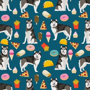 Alaskan Malamute junk food donuts pizza fries dog portrait medium blue green