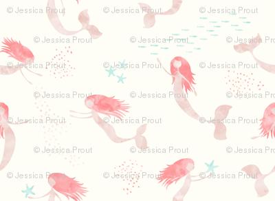 (medium scale) whimsical watercolor mermaid - peach and light aqua