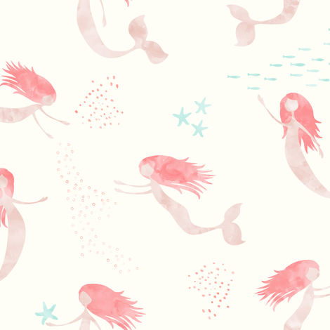 (medium scale) whimsical watercolor mermaid - peach and light aqua fabric by littlearrowdesign on Spoonflower - custom fabric