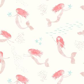 whimsical watercolor mermaid - peach and light aqua