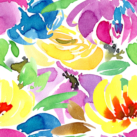 Watercolor colorful flowers fabric by graphicsdish on Spoonflower - custom fabric