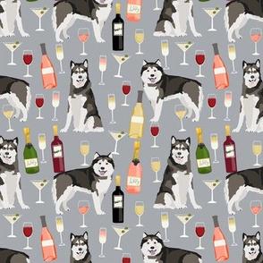 Alaskan Malamute wine champagne cocktails grey