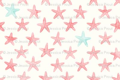 starfish peach and light teal - mermaid coordinate