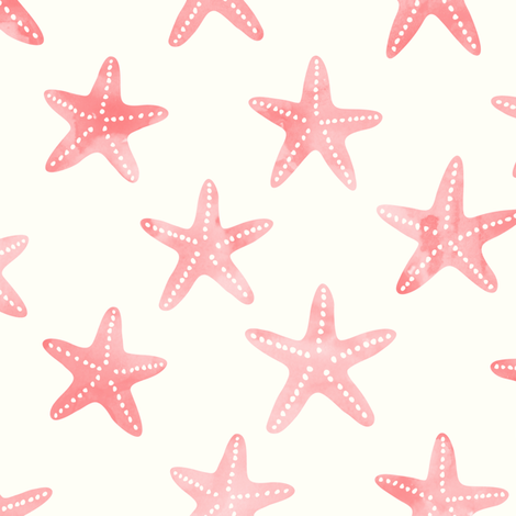 starfish peach and light teal - mermaid coordinate  fabric by littlearrowdesign on Spoonflower - custom fabric