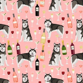 Alaskan Malamute wine champagne cocktails pink