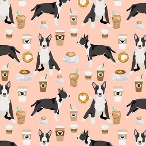 Bull Terrier coffee cafe  dog breed pattern fabric blush