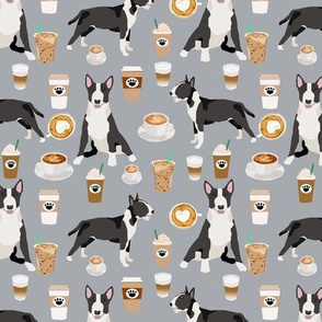 Bull Terrier coffee cafe  dog breed pattern fabric grey