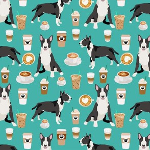 Bull Terrier coffee cafe  dog breed pattern fabric turquoise