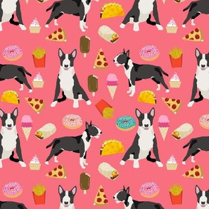 Bull Terrier junk food pizza donuts french fries food dog breeds pink