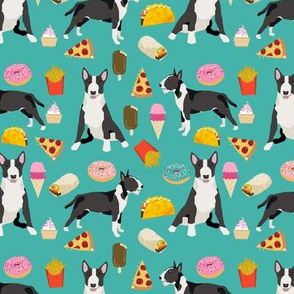 Bull Terrier junk food pizza donuts french fries food dog breeds turquoise
