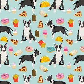 Bull Terrier junk food pizza donuts french fries food dog breeds