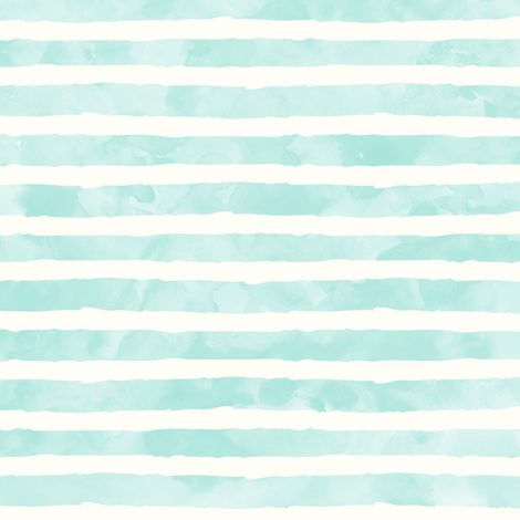 watercolor stripe light aqua - mermaid coordinate fabric by littlearrowdesign on Spoonflower - custom fabric