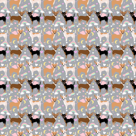 chihuahua dogs pastel unicorn fabric dogs and unicorns design - grey fabric by petfriendly on Spoonflower - custom fabric