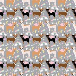 chihuahua dogs pastel unicorn fabric dogs and unicorns design - grey
