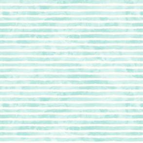 (small scale) watercolor stripe light aqua - mermaid coordinate