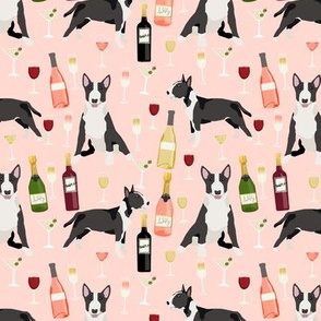 Bull Terrier wine champagne cocktails fabric pattern dog breed blush