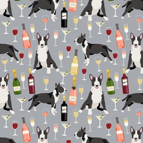 Bull Terrier wine champagne cocktails fabric pattern dog breed grey
