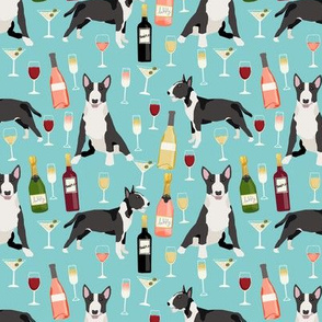 Bull Terrier wine champagne cocktails fabric pattern dog breed light blue