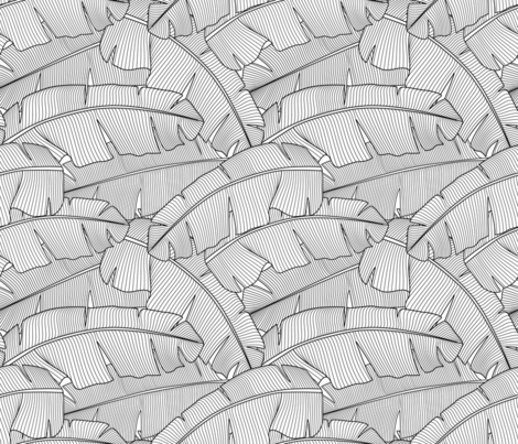 Banana Palm Leaves: Black and White fabric by mia_valdez on Spoonflower - custom fabric