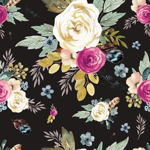 Western Autumn Mauve Flower - Charcoal