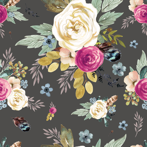 Western Autumn Mauve Flower - Light Charcoal fabric by shopcabin on Spoonflower - custom fabric
