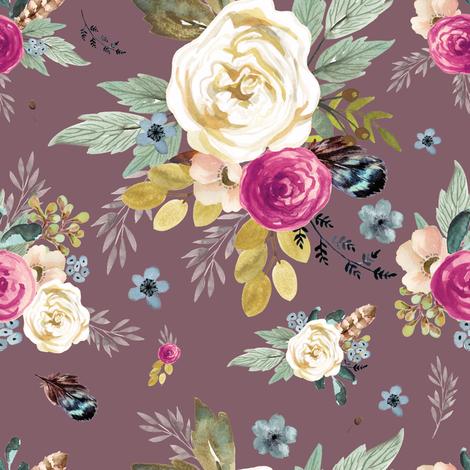 "8"" Western Autumn Mauve Flower - Mauve fabric by shopcabin on Spoonflower - custom fabric"