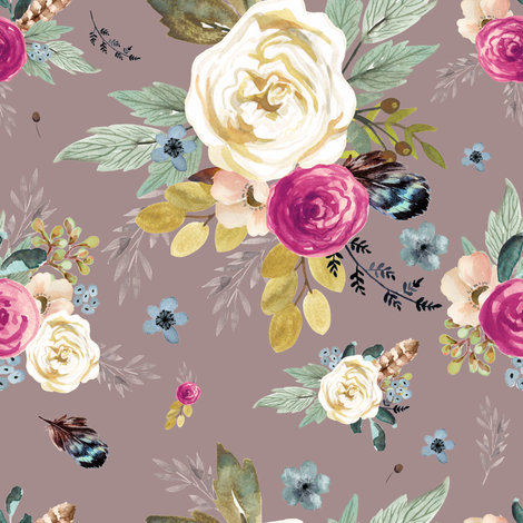 """8"""" Western Autumn Mauve Flower - Taupe fabric by shopcabin on Spoonflower - custom fabric"""