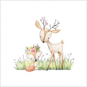 Deer & Fox Pillow Front - Fat Quarter size