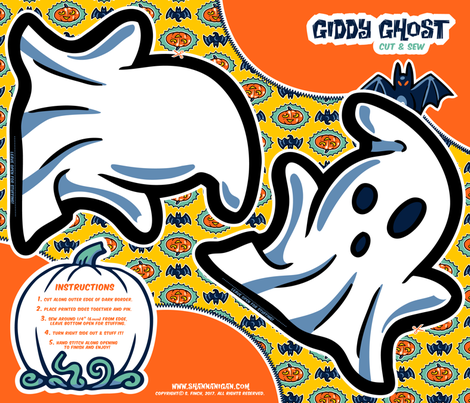 Halloween Hoopla - Ghost - Cut & Sew fabric by shannanigan on Spoonflower - custom fabric