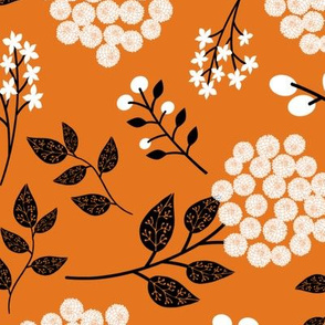 Mary's Floral (russet orange) Black + White Flower Fabric, LARGER scale