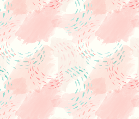 watercolor abstract - mermaid coordinate (peach and light aqua) fabric by littlearrowdesign on Spoonflower - custom fabric