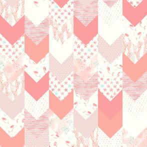 whimsical mermaids - wholecloth fabric - peach and light aqua