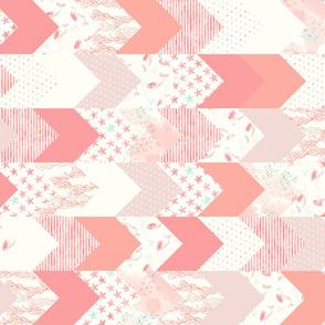 whimsical mermaids - wholecloth fabric - peach and light aqua (90)