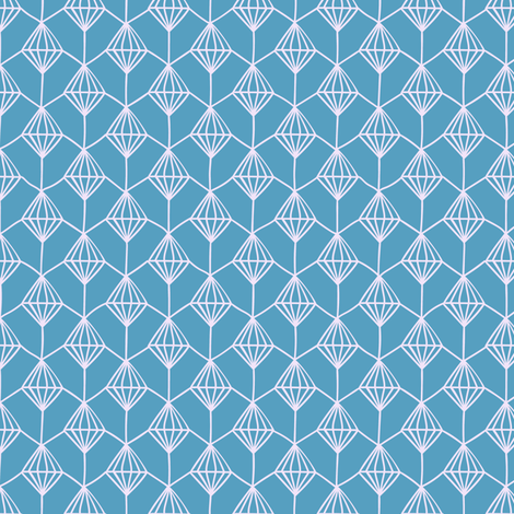 Blender Diamonds, Lilac on Blue, Pansy Coordinate fabric by thistleandfox on Spoonflower - custom fabric
