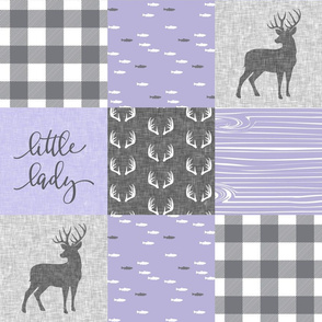 little lady woodland wholecloth patchwork - lavender grey
