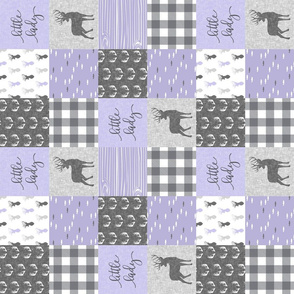 "3"" small scale -  little lady woodland wholecloth patchwork - lavender grey (90)"