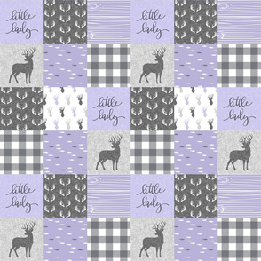 "3"" small scale -  little lady woodland wholecloth patchwork - lavender grey"