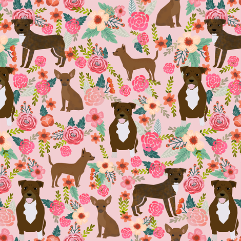 Custom pitbull and chihuahua fabric fabric by petfriendly on Spoonflower - custom fabric