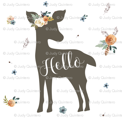 "8"" Western Autumn Hello Deer / white"
