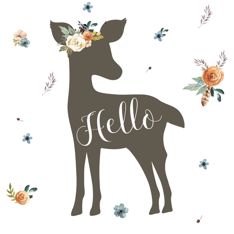 "8"" Western Autumn Hello Deer / white fabric by shopcabin on Spoonflower - custom fabric"