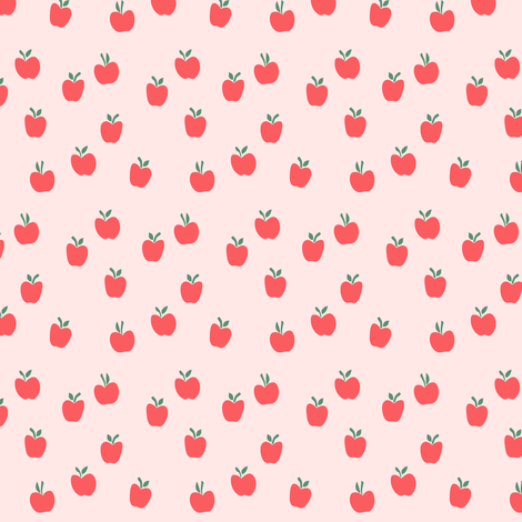 (micro print) apple picking - red on pink fabric by littlearrowdesign on Spoonflower - custom fabric