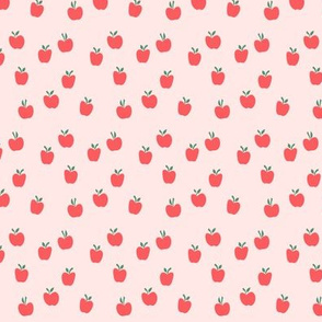 (micro print) apple picking - red on pink