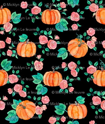 Extra Tiny Pumpkins and Roses in watercolor on black