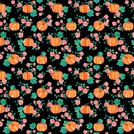 Extra Tiny Pumpkins and Roses in watercolor on black fabric by micklyn on Spoonflower - custom fabric